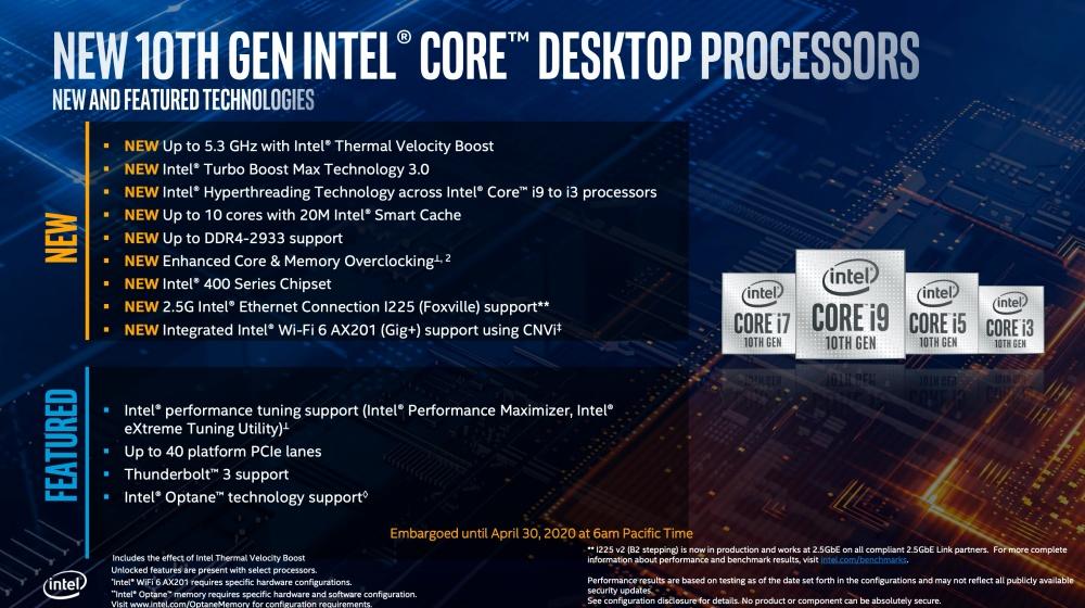 截圖 2020 04 30 下午1.37.50 Intel更新第10代Core i S系列桌機處理器,加入全新超頻設計對應更高核心時脈運作需求