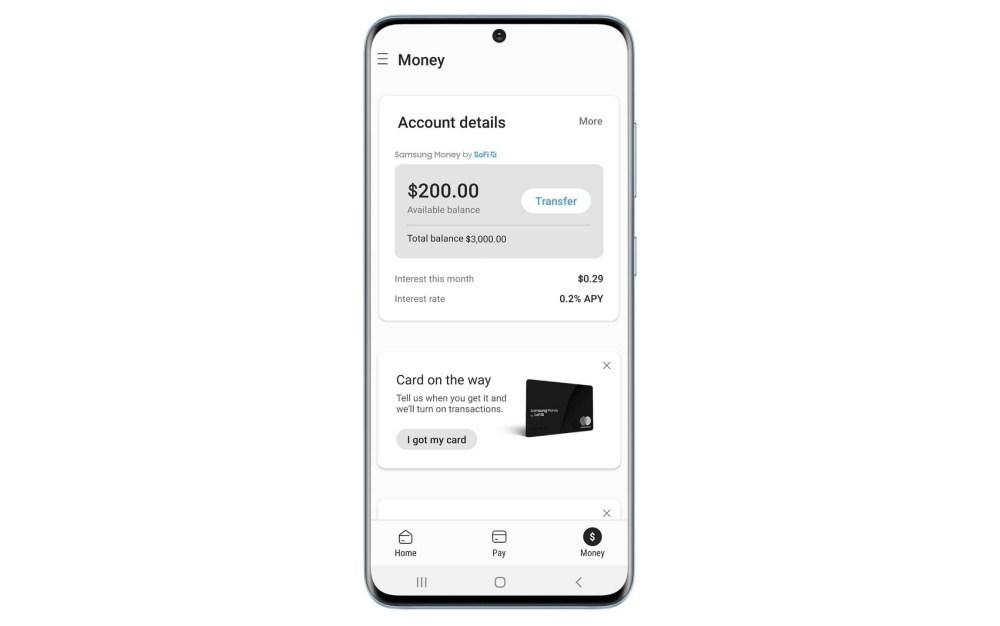 Samsung Pay Screenshot Sofi 三星確認與SoFi合作實體金融借記卡,將以Samsung Money為稱