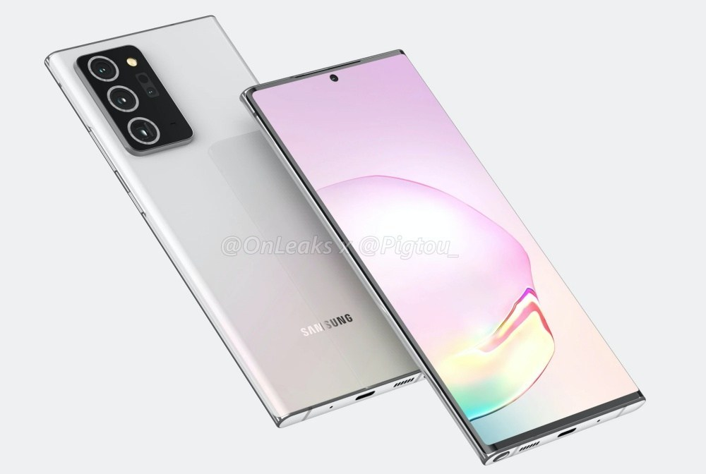 Galaxy Note20 Plus 4K4 2048x2048 以諸多傳聞打造的渲染圖像,呈現Galaxy Note 20系列新機可能外觀