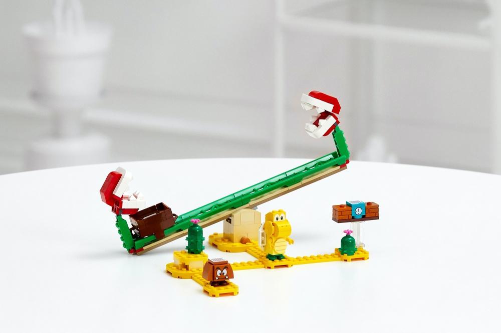 樂高超級瑪利歐系列公開首波產品「吞食花翹翹板」,內附有蘑菇與烏龜人偶 任天堂與樂高合作《超級瑪利歐》系列套組,預計8月正式推出